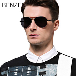 vintage shades for men Australia - Benzen Polarized Sunglasses Men Brand Designer Pilot Male Sun Glasses For Driving Vintage Eyewear Shades With Case 9091 Y19052001