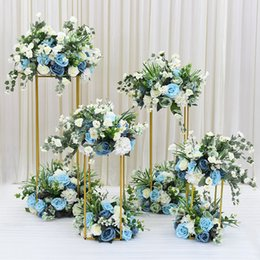 Party Event Decoration NZ - Flowers Wedding Centerpieces metal Flower Vase Floor Vases aisle walkway Road Lead photo prop Flower Column Rack For Event Party Decoration