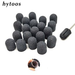 black blocks Australia - Tools Nail Drill Accessories Bits 20Pcs 13*19mm Black Textile Sanding Caps With Grip Pedicure Care Polishing Sand Block Nail Drill Access...