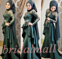 Wholesale African New Long Sleeves Muslim Evening Dresses Applique Satin Formal Party Gowns Hijab Islamic Dubai Kaftan Arabic Mermaid Prom Dress