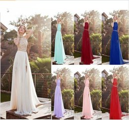 New Lace Appliques Beach Prom Dress Australia - 2019 Sexy New Lace Chiffon Long Prom Dresses Illusion Beaded Crystals Applique Split Backless Floor Length Summer Beach Evening Gowns 1120