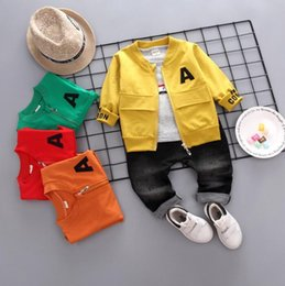 Old Fashioned Suits Australia - New spring and autumn 2019 three-piece children's suit fashion of 1-4 year-old baby's casual cartoon letters and long sleeves pant