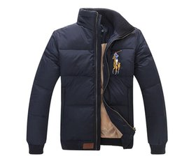 Flags yellow online shopping - Hot Men Stand Collar Winter Warm Flag Famous Pony Down jacket Fashion Appliques Zipper Outerwear more color sports cotton Horse Parkas