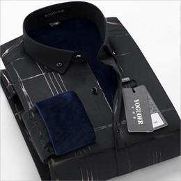 Men S Thick Shirt NZ - Winter new business gentleman men's long-sleeved shirt hot stamping plus velvet thick warm shirt men's business casual black men