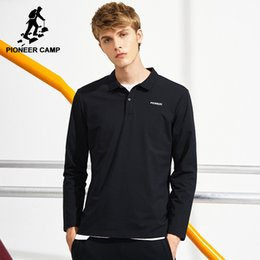 Polos Blacks Australia - Pioneer Camp Black Long Sleeve Polo Shirt Men Brand -Clothing Simple Basic Polos Male Quality Stretch Autumn Solid Polo Act702278