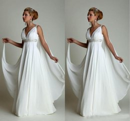 $enCountryForm.capitalKeyWord Australia - Greek Style Wedding Dresses with Watteau Train 2019 Sexy V-neck Long Chiffon Grecian Beach Maternity Dresses Wedding Gowns Grecian Cheap