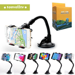 Best cell phone mounts for car online shopping - Best seller Double Clip Car Mount Easy To Use Universal Long Arm neck Rotation Windshield Phone Holder for Cell Phones