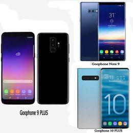 Опт Goophone S10 PLUS Note 9 Четырехъядерный процессор с отпечатками пальцев 1GBRAM 16GBROM Полный экран 6,5-дюймовый мобильный телефон Показать 4G LTE Android разблокированный телефон Герметичная коробка
