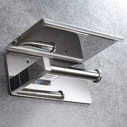 Wholesale metal things online – design 304 Stainless Steel Mirror Chromed Bathroom Toilet Paper Holder Top Place Things Platform Mounted Hardware
