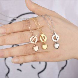 $enCountryForm.capitalKeyWord Australia - Beichong Women Stainless steel three color love Heart pendant necklace OT chain for women girl jewelry Gift