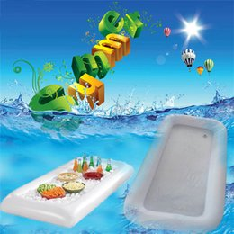 New Summer Inflatable Beer Table Pool Float Water Party Air Mattress Ice Bucket Serving Bar Salad Buffet Ice Cooler Picnic Drink from cheap good toys suppliers