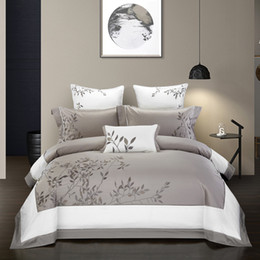 gold comforter sets NZ - Embroidery Chinoiserie style Duvet Quilt Cover Grey Leaves Comforter Cover Queen King 4Pcs Bedding set Bed sheets Fitted sheet T200415