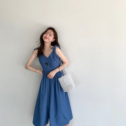 $enCountryForm.capitalKeyWord Australia - V-collar dress, relaxed summer vacation style, Korean version of temperament, pure color suspender long skirt can be replaced by hair