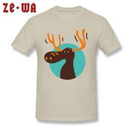 Cartoon Deer Head Australia - Casual T-shirt Men Beige T Shirt Cute Cartoon Deer Head Print Clothes Christmas Gift Tshirt Lovely Design Tops Cotton Tees Guys