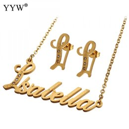 initial earrings Australia - Necklaces Pendants Alfabet Initial Necklace Earring Letter Choker Necklace Stainless Steel Jewelry Set For Women'S Wedding Gift