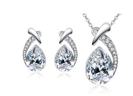 Best Christmas Gift Sets Australia - Austrian crystal Pendant Necklace and earring Jewelry Sets Zircon rhinestone earring and collar for Wedding Jewelry best gifts