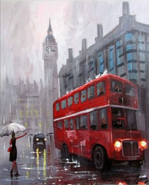 $enCountryForm.capitalKeyWord Australia - 100%Hand-painted Oil Painting London Cityscape Bus High-quality On Canvas Wall Decor Wall Home Decor Wall Art Picture