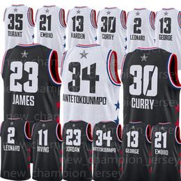 c12ee8922 2019 All star Jerseys SIMMONS 34 Antetokounmpo Leonard Irving James Embiid  Stephen 30 Curry Durant 13 Harden Jersey