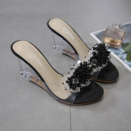 Sexy black women glaSSeS online shopping - Dwayne Summer New Wedges Sandals Women Sexy Crystal Transparent High Heels Glass Slippers String Bead PVC Slippers Fashion Shoes