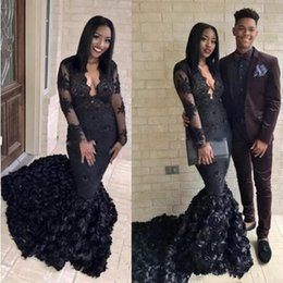 $enCountryForm.capitalKeyWord Australia - 2019 Gorgeous Black Mermaid Prom Dresses 2K19 3D Rose Sweep Train Evening Gowns South African V Neck Sheer Long Sleeves Formal Party Dress