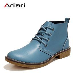 Flat elegant boots women online shopping - Ariari Fashion Women Boots Elegant Genuine Leather Shoes High Top Lace Up Flats Luxury Brand Casual Shoes Comfortable Soft