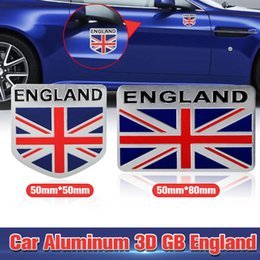 Wholesale Car Sticker Aluminum GB England UK Flag Shield Emblem Badge Decal Decor Sticker for Truck Auto Car styling Exterior Accessories