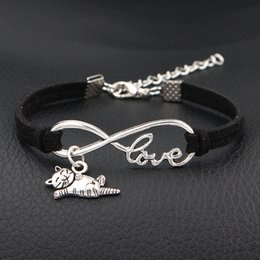 indian mens leather bracelets Australia - 2019 Fashion Infinity Love Cat Pendant Bracelets Womens Mens Black Leather Suede Rope Bracelets & Bangles For Women Men Jewelry Dropshipping