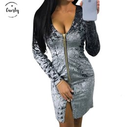 velvet clothing line Australia - Spring Women Autumn Dress Warm Fashion Zipper Long Sleeve Velvet Dresses Party Vestidos Sexy Clubwear Dress Spring Bodycon Designer Clothes