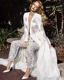 $enCountryForm.capitalKeyWord Australia - 2019 New Custom Made White Full Lace Jumpsuit Wedding Dresses Sexy Plunging Neck Pearls Long Sleeves Bridal Gowns Wedding Dress