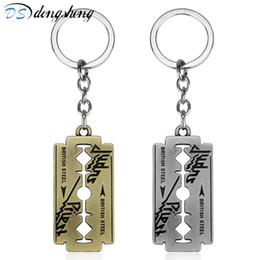 $enCountryForm.capitalKeyWord UK - Fashion Judas Priest Keychain Razor Blade Shape Key Chain music band Key Ring Holder Pendant Chaveiro Jewelry Souvenir -50