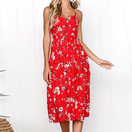 Strapless Strap Australia - Women Red Floral Dress Sexy Buttons Front Pockets Knee Length Strapless Dresses Spaghetti Strap Jurken #BF