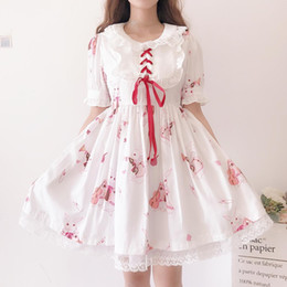 sweet lolita dresses Australia - Japanese Lolita Dress Sweet Cute Kawaii Girls Princess Maid Vintage Gothic Printed Patterns Lace White Red Summer Dresses