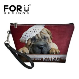 dog zipper NZ - FORUDESIGNS Ladies Bag Leather PU Organizer Cosmetic Case Female 3D Cute SharPei Dog Printing Makeup Bags for Women Girls