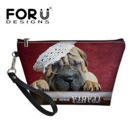 $enCountryForm.capitalKeyWord Australia - FORUDESIGNS Ladies Bag Luxury Leather PU Organizer Cosmetic Case Female 3D Cute SharPei Dog Printing Makeup Bags for Women Girls