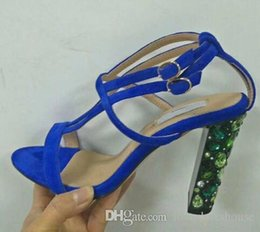 008956837705e6 Charm2019 Decent Sexy Blue Suede Sandals Women Cool Rhinestone Jeweled High  Heels Shoes Summer Cut Outs Ankle Strap Party Shoes Pumps