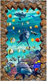 Round Stickers Roll Australia - Customized 3D photo mural wallpaper pvc self-adhesive waterproof flooring wall sticker Round cobblestone underwater world Floor