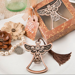 wholesale communion gifts UK - 50PCS Antique Copper Angel Bottle Opener in Gift Box Wedding Favors Baby Christening First Communion Gift For Guest FREE SHIPPING