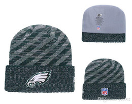 easter bowls NZ - Men's Philadelphia Eagles Green 2018 Sideline Cold Weather Official Gray Black Super Bowl LII Champions Parade Cuffed Pom Sport Knit Ha