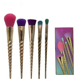 $enCountryForm.capitalKeyWord Australia - Makeup brush set 5 kinds of shine colors brush head rose gold spiral shank unicorn screw shank brush DHL Free shipping
