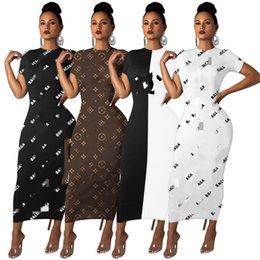 Wholesale plus size women clothing free shipping resale online – Women Brand skinny dresses plus size maxi skirts fashion short sleeve dress summer clothing casual letter print dress free ship