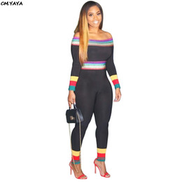 $enCountryForm.capitalKeyWord Australia - women new off shoulder rainbow stripes patchwork long sleeve skinny long leggings black jumpsuits bodycon romper playsuits A6109