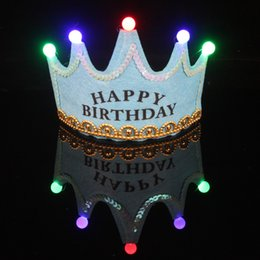 Wholesale LED Crown Glowing Happy Birthday Headbands Birthday Party Decoration Hair Pink Princess Blue King Glow Hats for Baby Girl Boy