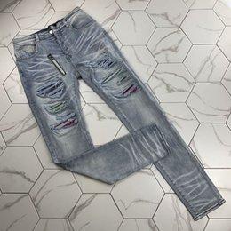 Wholesale 38 hip resale online – designer Mens Distressed Ripped Biker Jeans Slim Fit Motorcycle Biker Denim For Men Fashion Balma Designer Hip Hop Mens Jeans Good Quality bigest