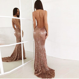 $enCountryForm.capitalKeyWord Australia - Sexy V Neck Champagne Gold Sequined Maxi Dress Floor Length Party Dress Sleeveless Strapless Backless Evening Mermaid Dress T3190612