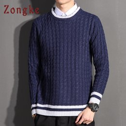 898be2b54a5 Zongke O-Neck Striped Knitted Sweater Men Clothes Christmas Sweater Men  Pulover 2018 Winter Pullover Casual 5XL