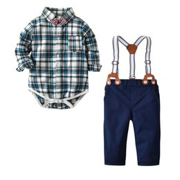 $enCountryForm.capitalKeyWord UK - Cute Baby Boys Bow Gentle Suits Candy Plaid Shirts and Overall Pants 2pcs Sets Spring Autumn Vintage Boys Clothing