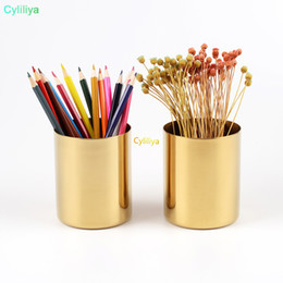 Brass cylinders online shopping - 400ml Nordic style brass gold vase Stainless Steel Cylinder Pen Holder for Stand Multi Use Pencil Pot Holder Cup contain