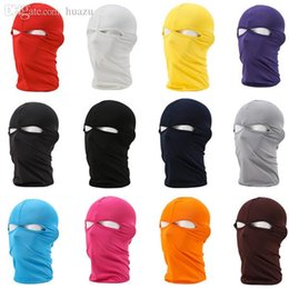 face covering hats Australia - Wholesale-Women's Men's Winter Warm Black Full Face Cover Ski Two Holes Mask Beanie Hat Cap