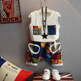 $enCountryForm.capitalKeyWord NZ - 2019 Baby Boys Hip Hop Clothes Summer Kids Clothes Sets Sleeveless T-shirt+ Printed Harem Pants 2pcs Suit Toddler Boy Clothes Outfits