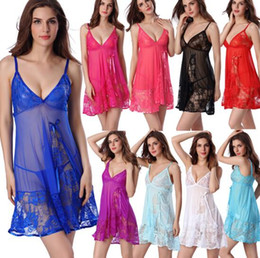 lingerie nightgown suspenders UK - Sexy Lingerie European and American style underwear plus size sleepwear style pajamas lace V-neck suspender skirt 51201